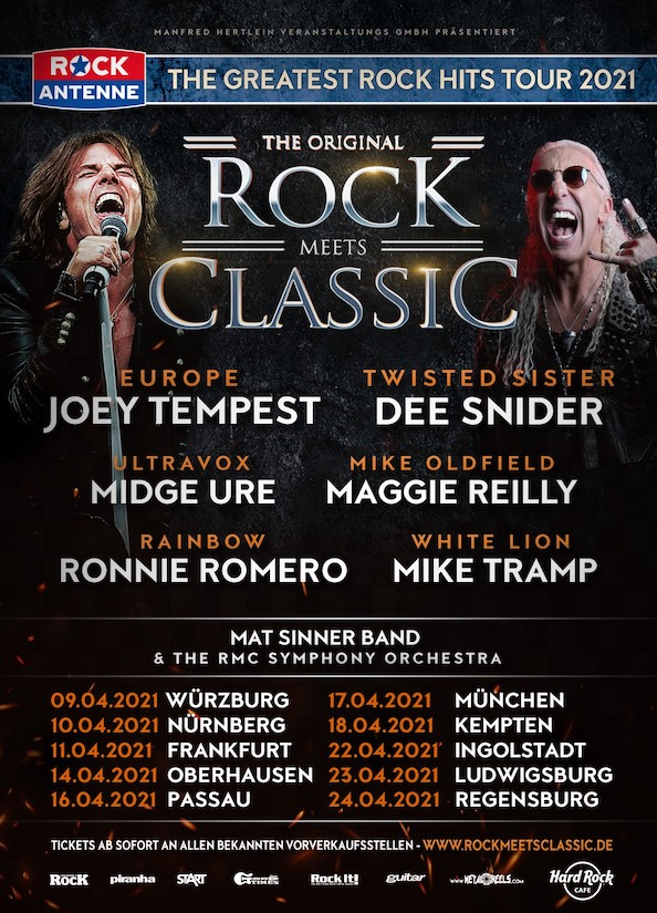 Read more about the article ROCK MEETS CLASSIC mit DEE SNIDER – JOEY TEMPEST – MAT SINNER –  MIDGE URE u.a.