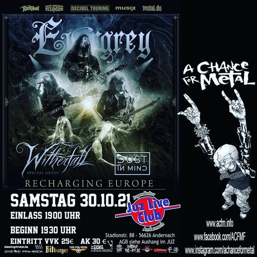 EVERGREY & WITHERFALL am 30.10.21 im JUZ Andernach