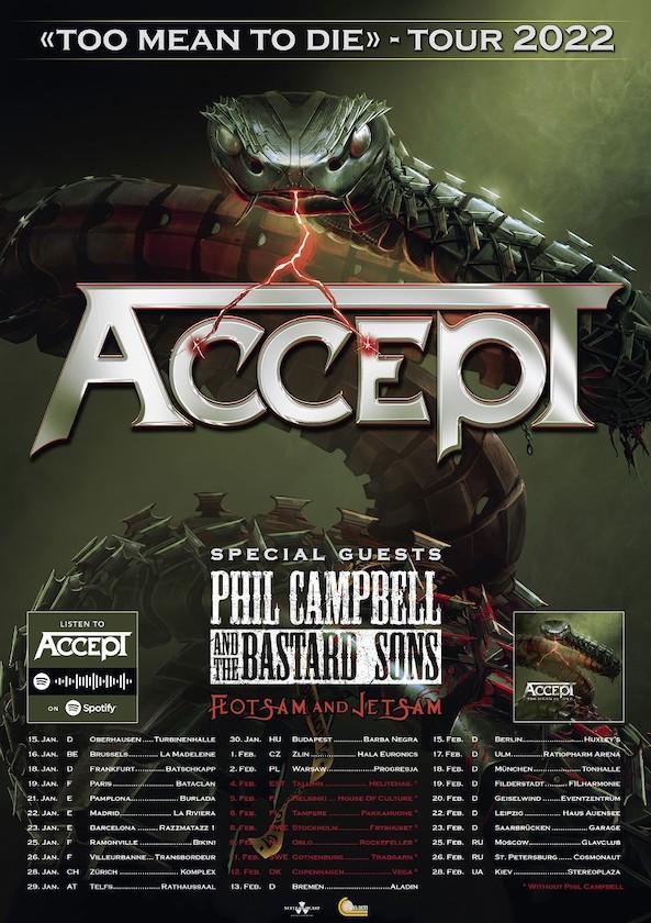 """ACCEPT verkünden """"Too Mean To Die"""" Tour mit Flotsam & Jetsam und Phil Campbell"""