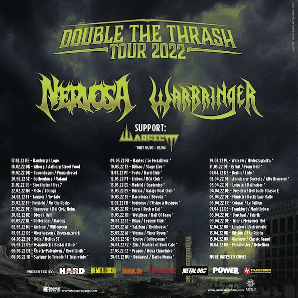 """You are currently viewing NERVOSA, WARFECT – """"Double The Thrash"""" Tour 2022"""