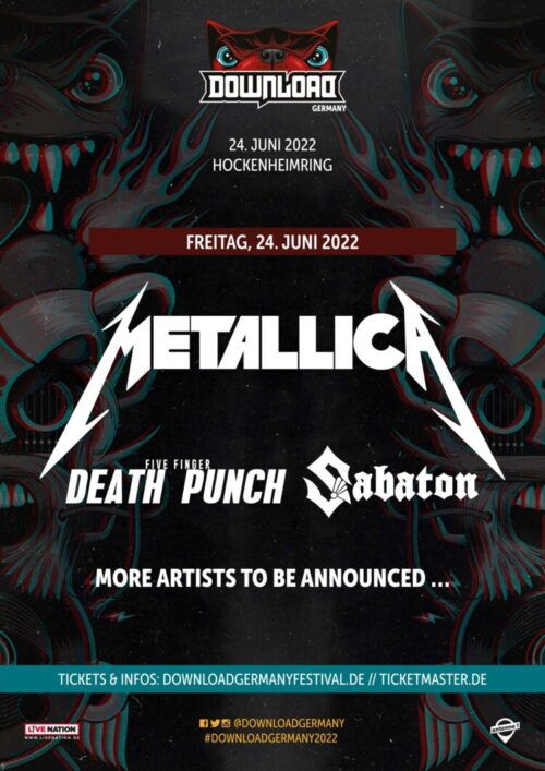 You are currently viewing METALLICA, SABATON und FIVE FINGER DEATH PUNCH – beim Download Germany Festival 2022