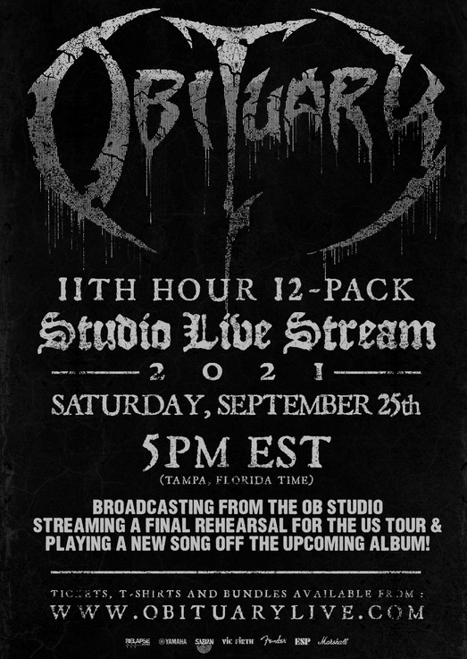 """You are currently viewing Death-Veteranen OBITUARY – mit Studio-Live-Stream """"11th hour 12-pack"""" am 25.09.21!"""