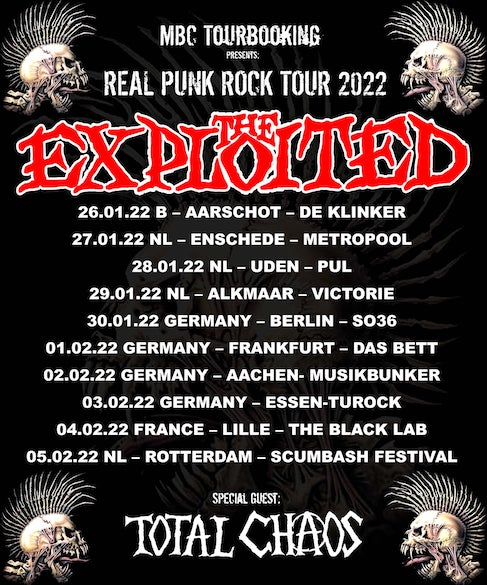 """Read more about the article THE EXPLOITED  – """"Real Punk Rock"""" Tour  2022 (+ Total Chaos)"""