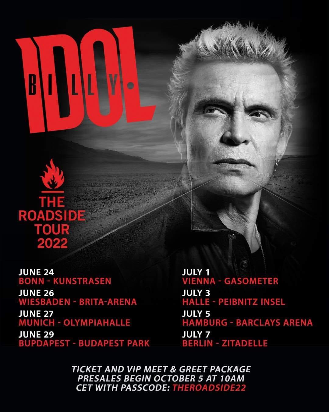 You are currently viewing BILLY IDOL – The Roadside Tourankündigung für 2022